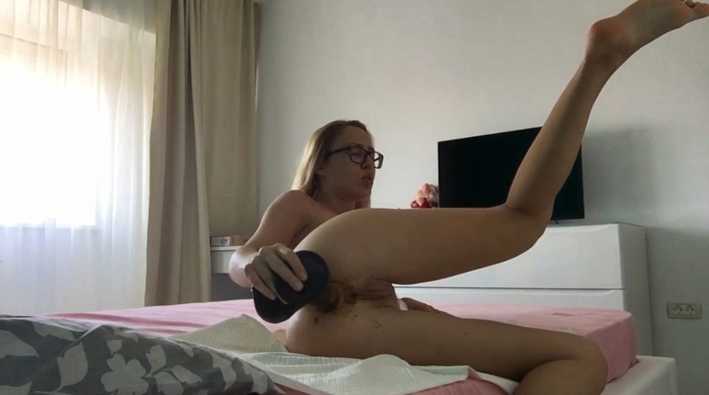 Large black dildo in dirty anal hole fist