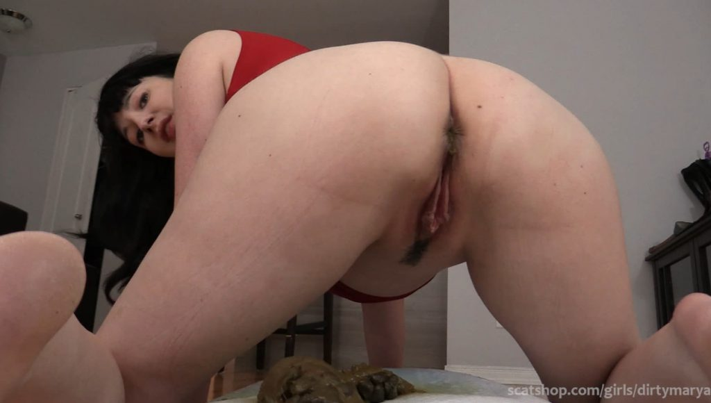 Nice and cute girl defecates thick turd - 5