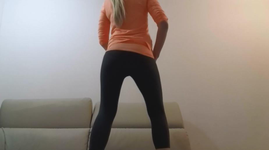 Orange Grey Tights Poop - thefartbabes - 2