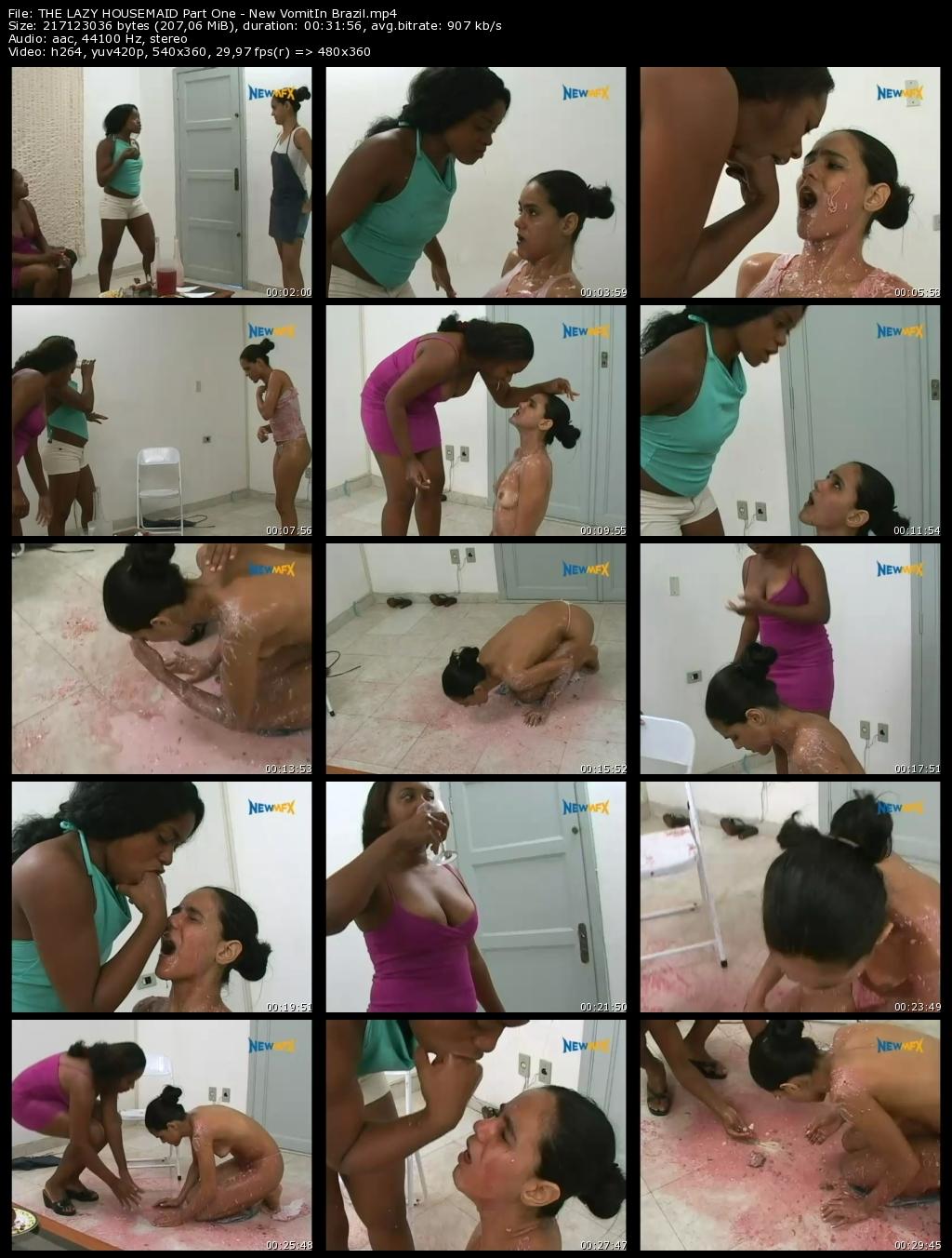 THE LAZY HOUSEMAID Part One - New VomitIn Brazil with Amanda, Iris and Najara