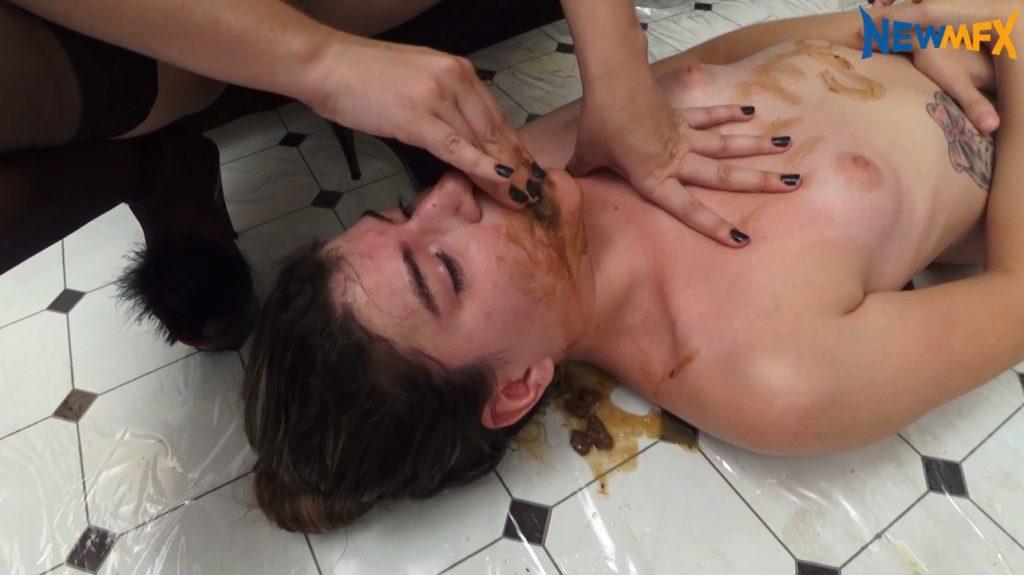 Mistress forced scat on slavegirl in shit - 4