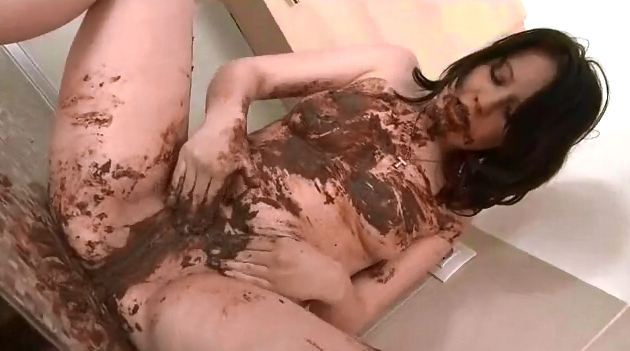 Sexy brunette covering her body with shit - 6