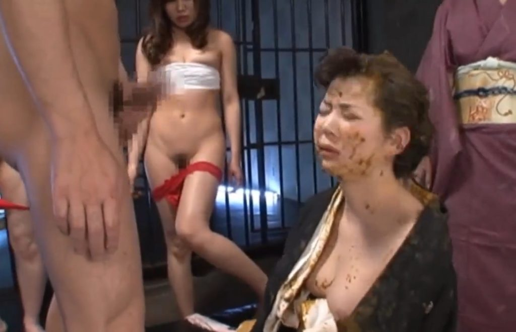 Bound geisha is fed with shit, getting trampled and fucked in a woman's shit - 5