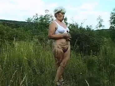Granny shitting outdoor - 2