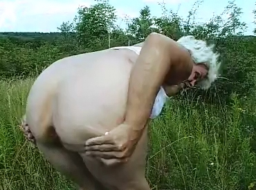 Granny shitting outdoor - 5