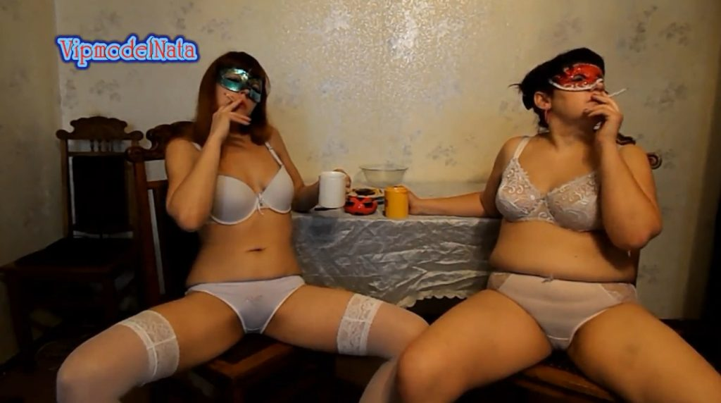 Yana and Olga drink tea with cream shit (ModelNatalya94) Image 1