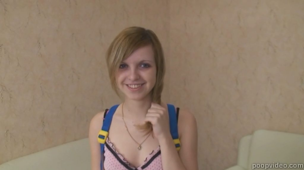 Russian young girl shitting (Demina) Image 1